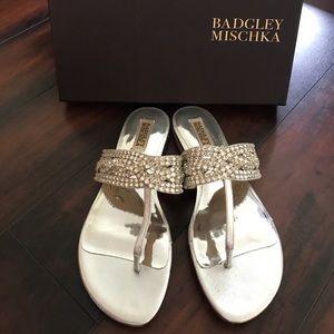 Badgley Mischka Trent embellished evening sandal.